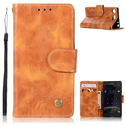 Luxury Retro Leather Wallet Case for Sony Xperia XZ1 Compact - Golden