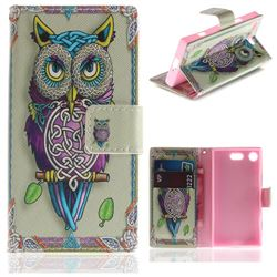Weave Owl PU Leather Wallet Case for Sony Xperia XZ1 Compact