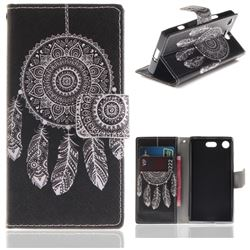 Black Wind Chimes PU Leather Wallet Case for Sony Xperia XZ1 Compact
