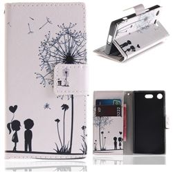 Couple Dandelion PU Leather Wallet Case for Sony Xperia XZ1 Compact