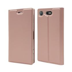 Ultra Slim Card Magnetic Automatic Suction Leather Wallet Case for Sony Xperia XZ1 Compact - Rose Gold