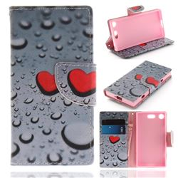 Heart Raindrop PU Leather Wallet Case for Sony Xperia XZ1 Compact
