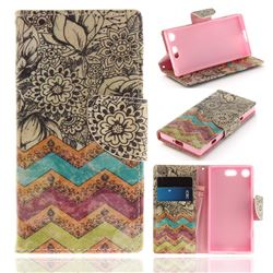 Wave Flower PU Leather Wallet Case for Sony Xperia XZ1 Compact