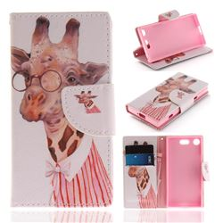 Pink Giraffe PU Leather Wallet Case for Sony Xperia XZ1 Compact