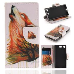 Color Wolf PU Leather Wallet Case for Sony Xperia XZ1 Compact