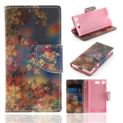 Colored Flowers PU Leather Wallet Case for Sony Xperia XZ1 Compact