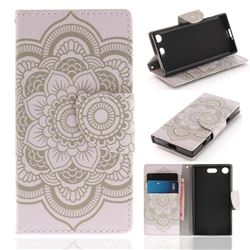 White Flowers PU Leather Wallet Case for Sony Xperia XZ1 Compact
