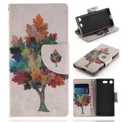 Colored Tree PU Leather Wallet Case for Sony Xperia XZ1 Compact