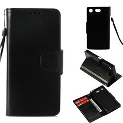 Retro Phantom Smooth PU Leather Wallet Holster Case for Sony Xperia XZ1 Compact - Black