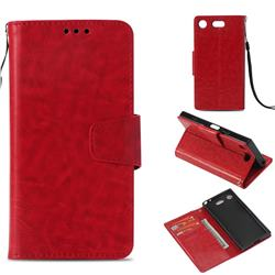 Retro Phantom Smooth PU Leather Wallet Holster Case for Sony Xperia XZ1 Compact - Red