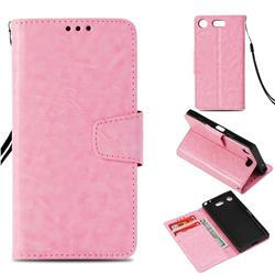 Retro Phantom Smooth PU Leather Wallet Holster Case for Sony Xperia XZ1 Compact - Pink