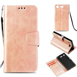 Retro Phantom Smooth PU Leather Wallet Holster Case for Sony Xperia XZ1 Compact - Rose Gold