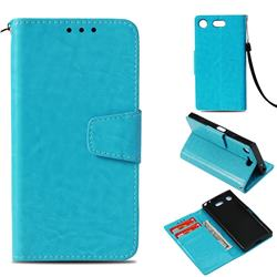 Retro Phantom Smooth PU Leather Wallet Holster Case for Sony Xperia XZ1 Compact - Sky Blue