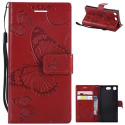 Embossing 3D Butterfly Leather Wallet Case for Sony Xperia XZ1 Compact - Red
