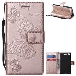 Embossing 3D Butterfly Leather Wallet Case for Sony Xperia XZ1 Compact - Rose Gold