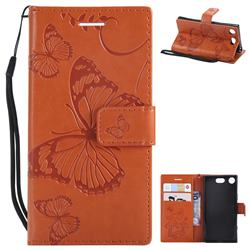 Embossing 3D Butterfly Leather Wallet Case for Sony Xperia XZ1 Compact - Orange