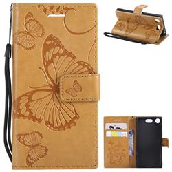 Embossing 3D Butterfly Leather Wallet Case for Sony Xperia XZ1 Compact - Yellow