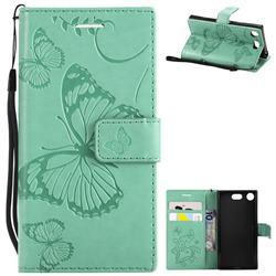 Embossing 3D Butterfly Leather Wallet Case for Sony Xperia XZ1 Compact - Green