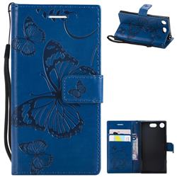 Embossing 3D Butterfly Leather Wallet Case for Sony Xperia XZ1 Compact - Blue