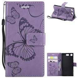Embossing 3D Butterfly Leather Wallet Case for Sony Xperia XZ1 Compact - Purple