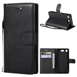 Retro Greek Classic Smooth PU Leather Wallet Phone Case for Sony Xperia XZ1 Compact - Black