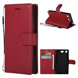 Retro Greek Classic Smooth PU Leather Wallet Phone Case for Sony Xperia XZ1 Compact - Red