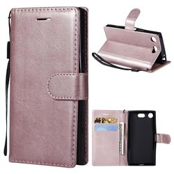 Retro Greek Classic Smooth PU Leather Wallet Phone Case for Sony Xperia XZ1 Compact - Rose Gold