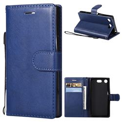 Retro Greek Classic Smooth PU Leather Wallet Phone Case for Sony Xperia XZ1 Compact - Blue