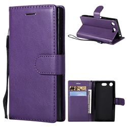 Retro Greek Classic Smooth PU Leather Wallet Phone Case for Sony Xperia XZ1 Compact - Purple