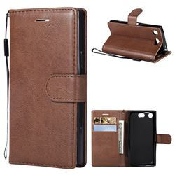 Retro Greek Classic Smooth PU Leather Wallet Phone Case for Sony Xperia XZ1 Compact - Brown
