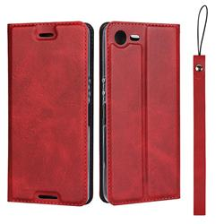 Calf Pattern Magnetic Automatic Suction Leather Wallet Case for Sony Xperia XZ1 Compact - Red