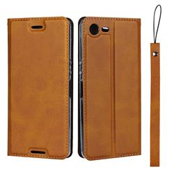 Calf Pattern Magnetic Automatic Suction Leather Wallet Case for Sony Xperia XZ1 Compact - Brown