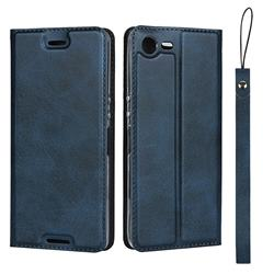 Calf Pattern Magnetic Automatic Suction Leather Wallet Case for Sony Xperia XZ1 Compact - Blue