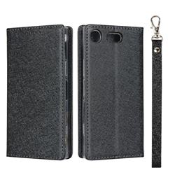 Ultra Slim Magnetic Automatic Suction Silk Lanyard Leather Flip Cover for Sony Xperia XZ1 Compact - Black