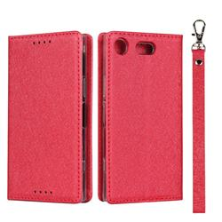 Ultra Slim Magnetic Automatic Suction Silk Lanyard Leather Flip Cover for Sony Xperia XZ1 Compact - Red