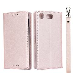 Ultra Slim Magnetic Automatic Suction Silk Lanyard Leather Flip Cover for Sony Xperia XZ1 Compact - Rose Gold