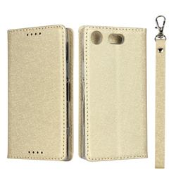 Ultra Slim Magnetic Automatic Suction Silk Lanyard Leather Flip Cover for Sony Xperia XZ1 Compact - Golden