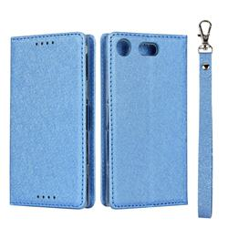 Ultra Slim Magnetic Automatic Suction Silk Lanyard Leather Flip Cover for Sony Xperia XZ1 Compact - Sky Blue