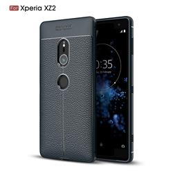 Luxury Auto Focus Litchi Texture Silicone TPU Back Cover for Sony Xperia XZ2 - Dark Blue