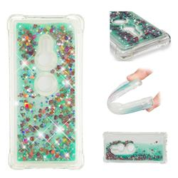 Dynamic Liquid Glitter Sand Quicksand TPU Case for Sony Xperia XZ2 - Green Love Heart