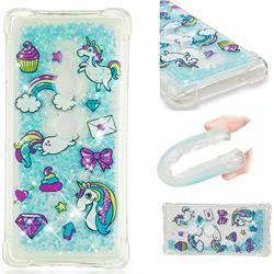 Fashion Unicorn Dynamic Liquid Glitter Sand Quicksand Star TPU Case for Sony Xperia XZ2