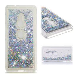 Dynamic Liquid Glitter Quicksand Sequins TPU Phone Case for Sony Xperia XZ2 - Silver