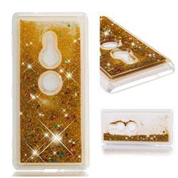 Dynamic Liquid Glitter Quicksand Sequins TPU Phone Case for Sony Xperia XZ2 - Golden