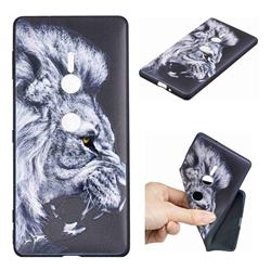 Lion 3D Embossed Relief Black TPU Cell Phone Back Cover for Sony Xperia XZ2