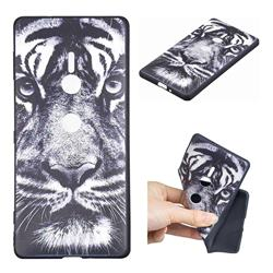White Tiger 3D Embossed Relief Black TPU Cell Phone Back Cover for Sony Xperia XZ2