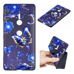 Phnom Penh Butterfly 3D Embossed Relief Black TPU Cell Phone Back Cover for Sony Xperia XZ2