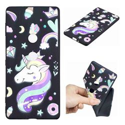 Candy Unicorn 3D Embossed Relief Black TPU Cell Phone Back Cover for Sony Xperia XZ2