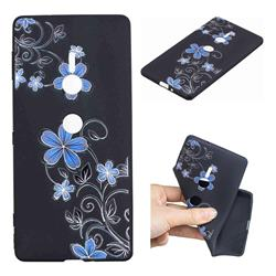 Little Blue Flowers 3D Embossed Relief Black TPU Cell Phone Back Cover for Sony Xperia XZ2