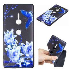 Blue Butterfly 3D Embossed Relief Black TPU Cell Phone Back Cover for Sony Xperia XZ2