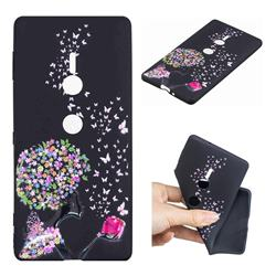 Corolla Girl 3D Embossed Relief Black TPU Cell Phone Back Cover for Sony Xperia XZ2